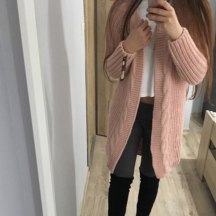 Długi WARKOCZOWY sweter różowy HIT
