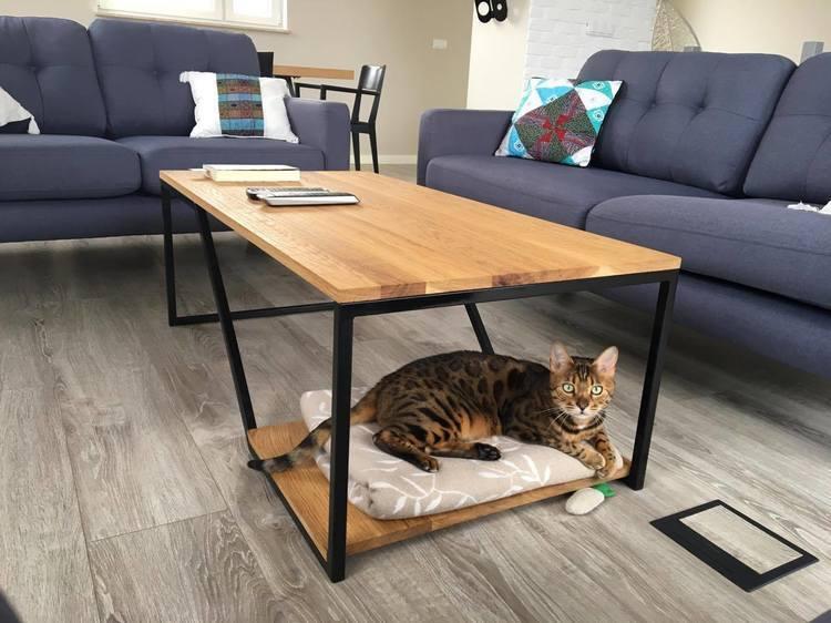 Designerski stolik kawowy dębowy ława loft