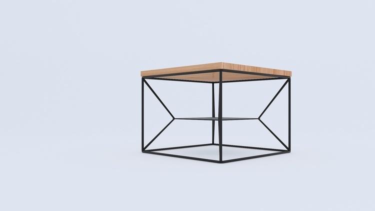 Stolik loft kwadratowy metal drewno na wymiar